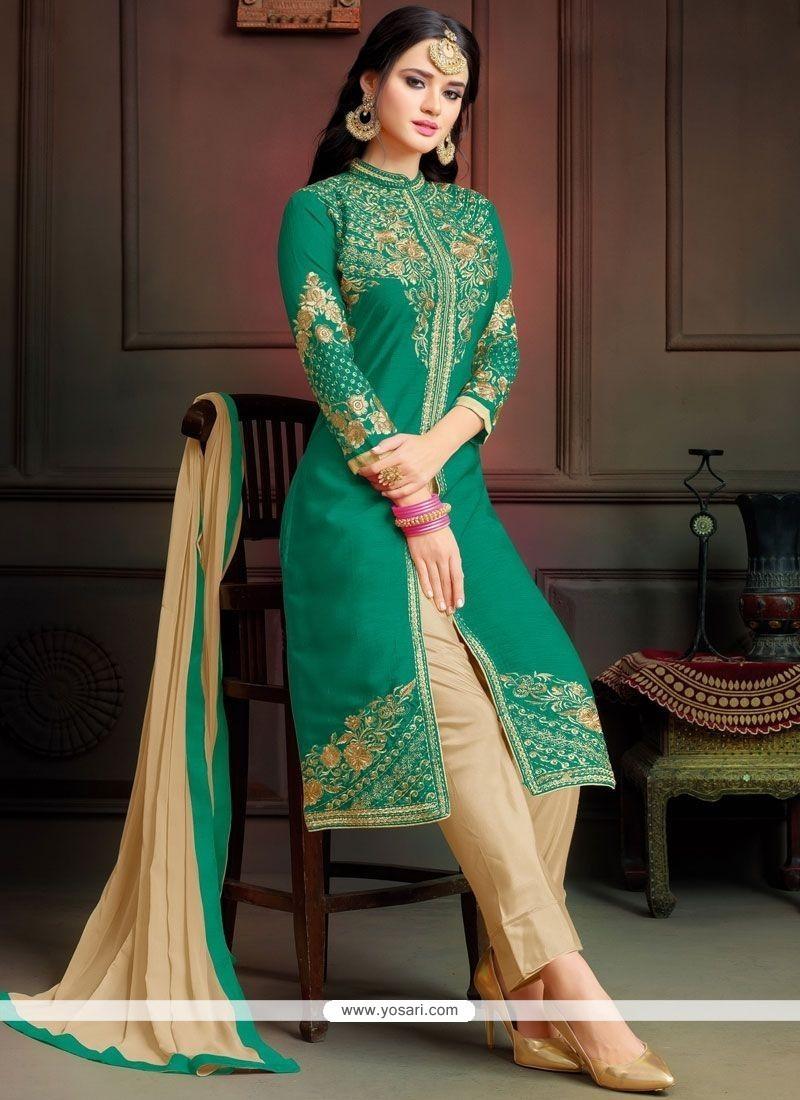 bff41053c8 Buy Resham Work Art Silk Pant Style Suit | Designer Salwar Suits