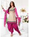 Ayesha Takia Magenta And Cream Cotton Punjabi Patiala Suit