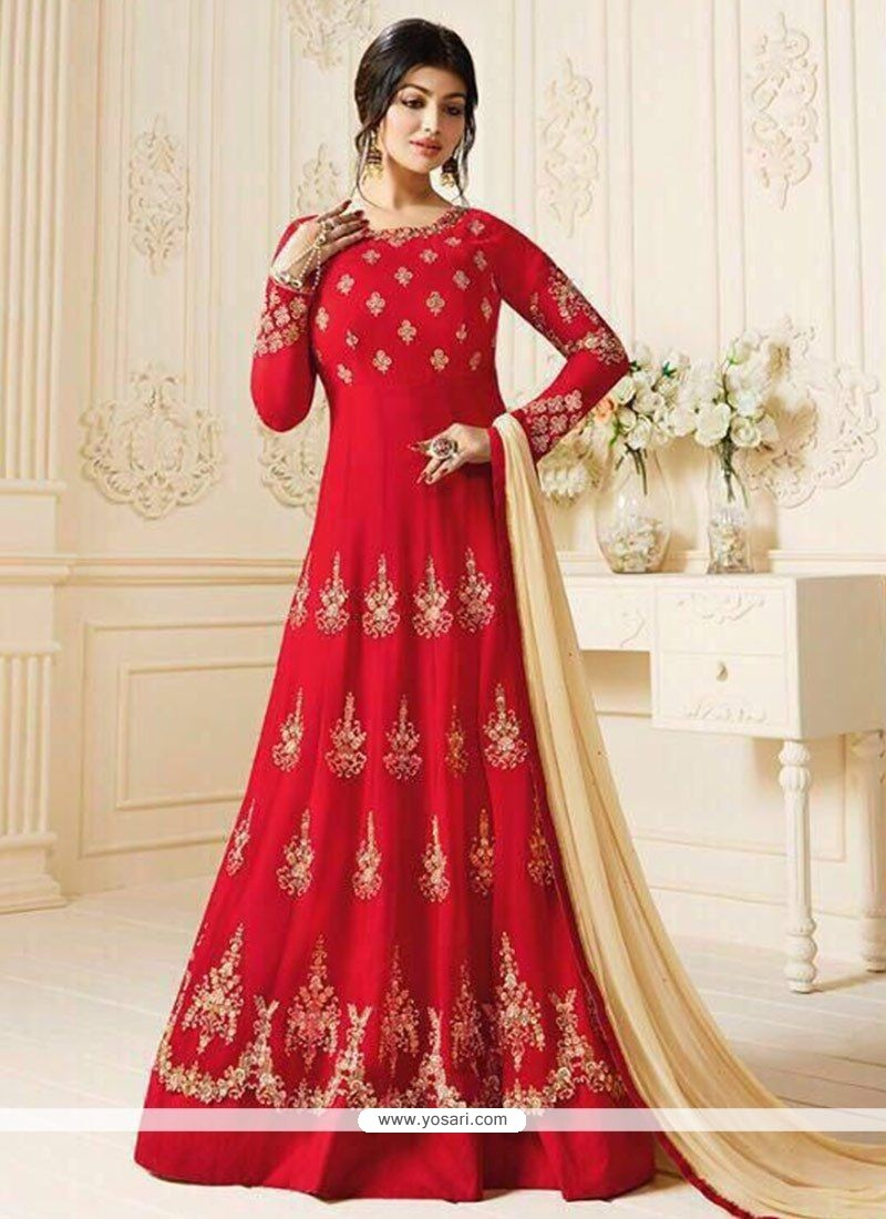 d383376117 Buy Ayesha Takia Red Resham Work Floor Length Anarkali Suit ...