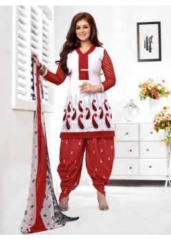 Ayesha Takia Maroon And White Cotton Punjabi Patiala Suit