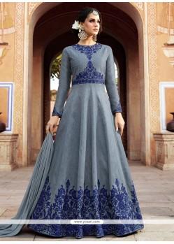 Art Silk Embroidered Work Floor Length Anarkali Suit