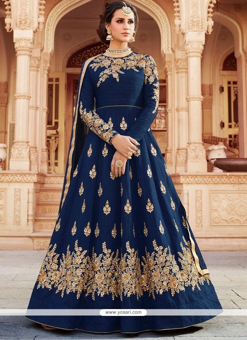c3380954cf Buy Navy Blue Floor Length Anarkali Suit   Anarkali Suits