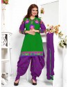 Ayesha Takia Purple And Green Cotton Punjabi Patiala Suit