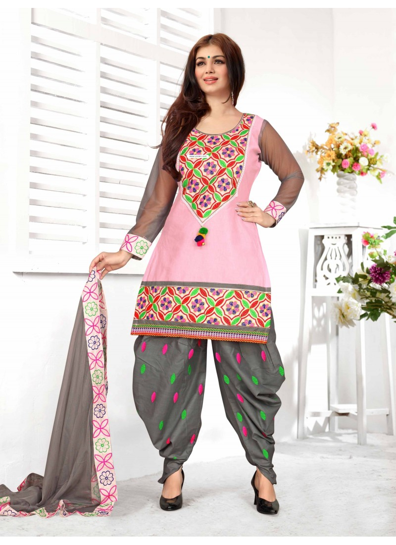 Ayesha Takia Grey And Pink Cotton Punjabi Patiala Suit