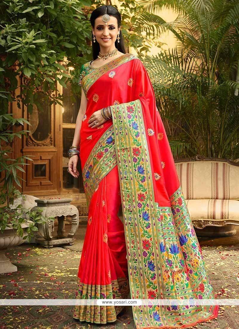 Buy Sanaya Irani Red Weaving Work Designer Traditional Saree ...