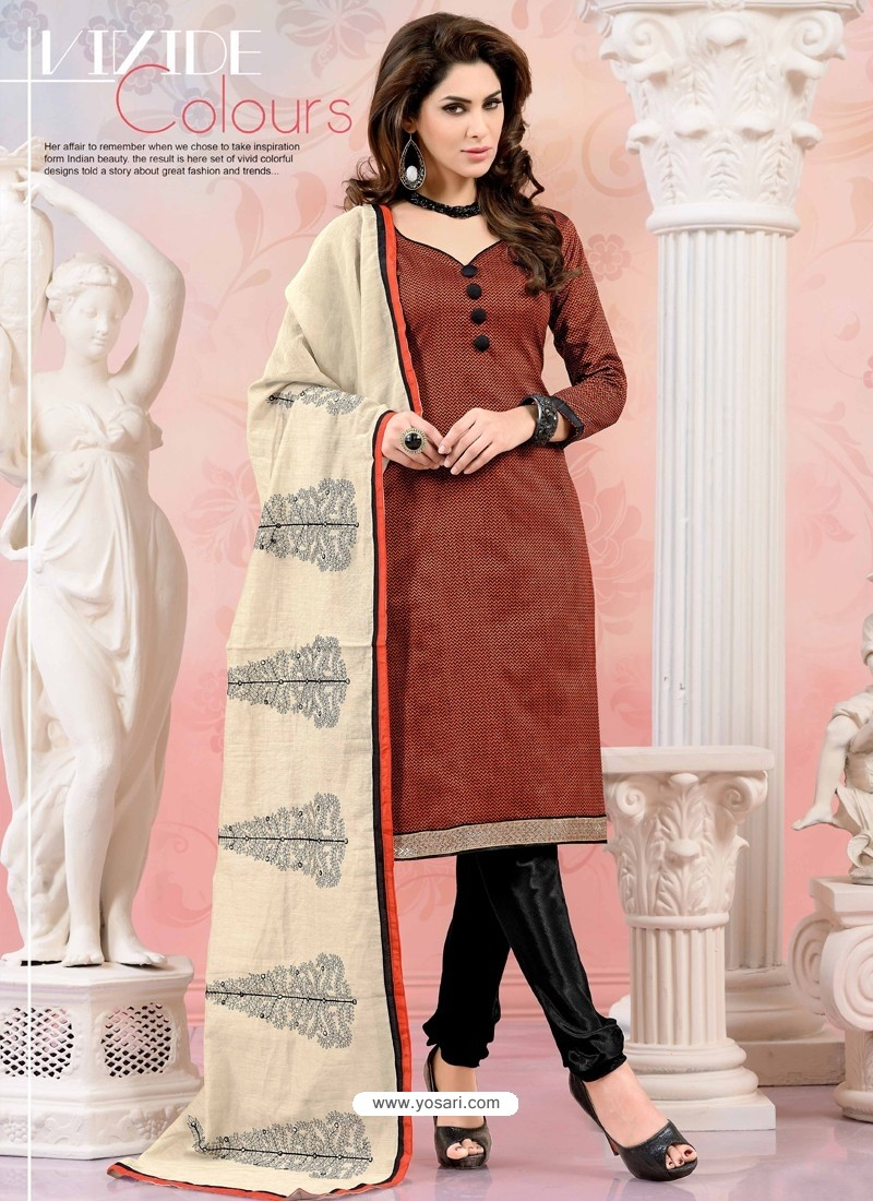 Black And Red Chanderi Silk Churidar Suit