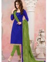 Blue And Green Chanderi Silk Churidar Suit