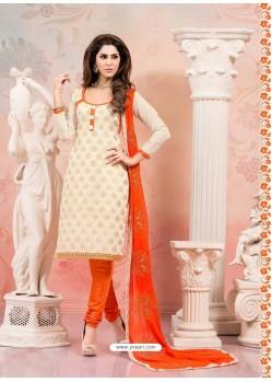 Cream And Orange Chanderi Silk Churidar Suit