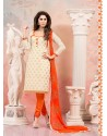 Cream And Orange Chanderi Silk Churidar Suit
