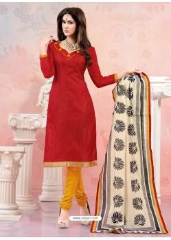 Maroon Chanderi Silk Churidar Suit