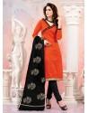Orange And Black Chanderi Silk Churidar Suit