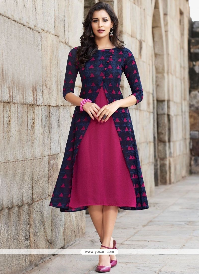 Buy Blue And Hot Pink Party Wear Kurti Party Wear Kurtis