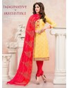 Red And Yellow Chanderi Silk Churidar Suit