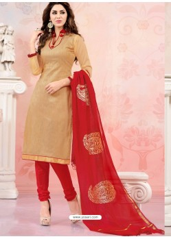 Red And Cream Chanderi Silk Churidar Suit