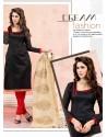 Black Chanderi Silk Churidar Suit