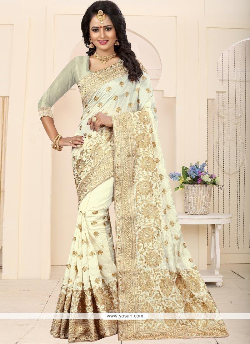 42b16f3c5ae16 Buy Art Silk White Weaving Work Traditional Designer Saree