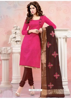 Pink And Brown Chanderi Silk Churidar Suit
