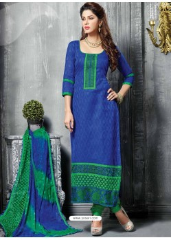 Blue Jacquard Salwar Kameez