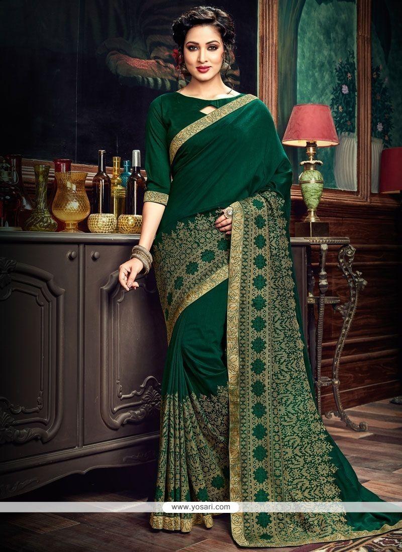 5fdfc70bd Buy Art Silk Green Lace Work Traditional Designer Saree