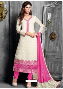 White And Pink Jacquard Salwar Kameez