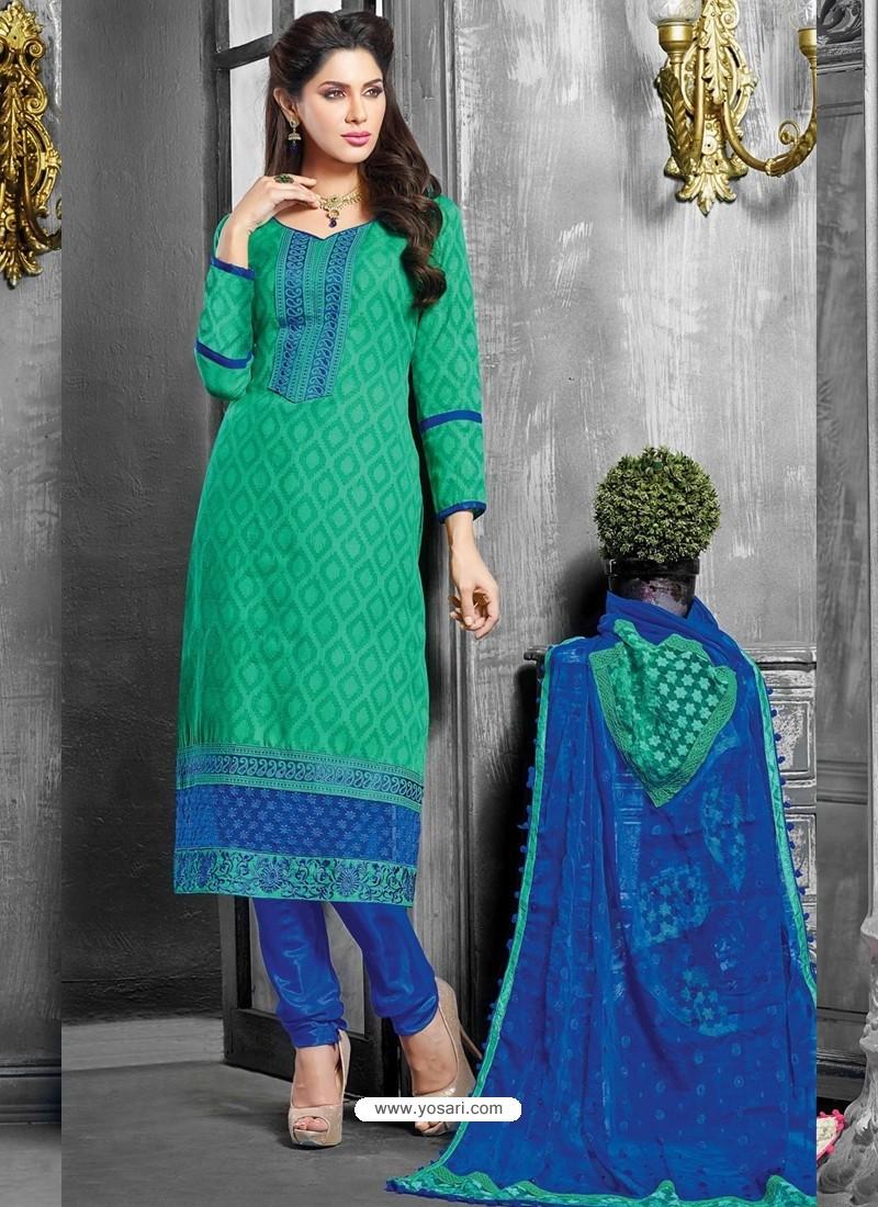 Green And Blue Jacquard Salwar Kameez
