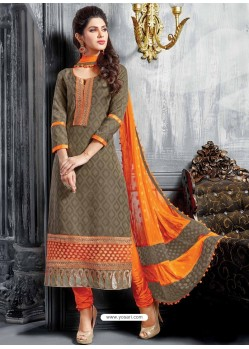 Orange Jacquard Salwar Kameez