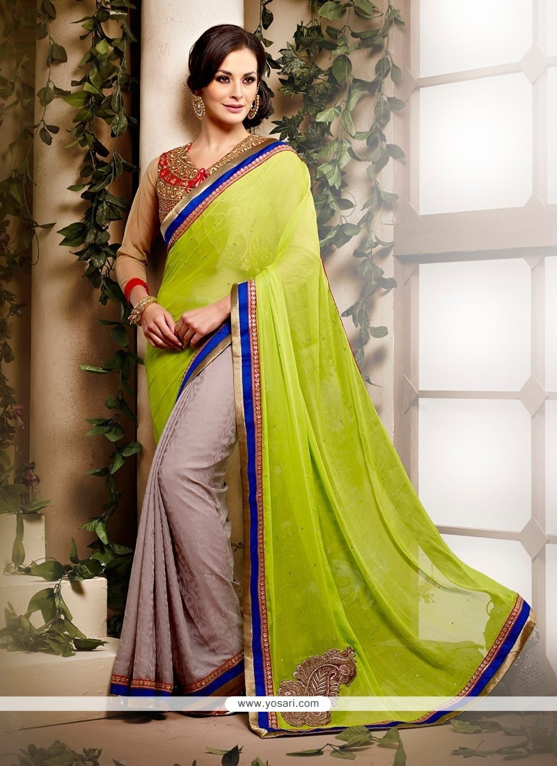 Superb Green Faux Chiffon Designer Saree