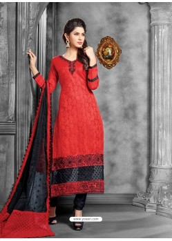 Red And Black Jacquard Salwar Kameez