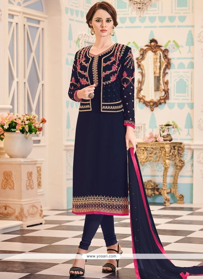 3a0bdd4340b3 Buy Navy Blue Jacket Style Suit | Designer Salwar Suits