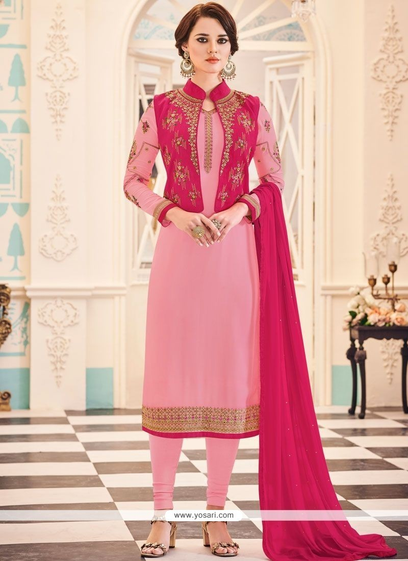 7905e5d2680a Buy Embroidered Work Pink Jacket Style Suit | Designer Salwar Suits