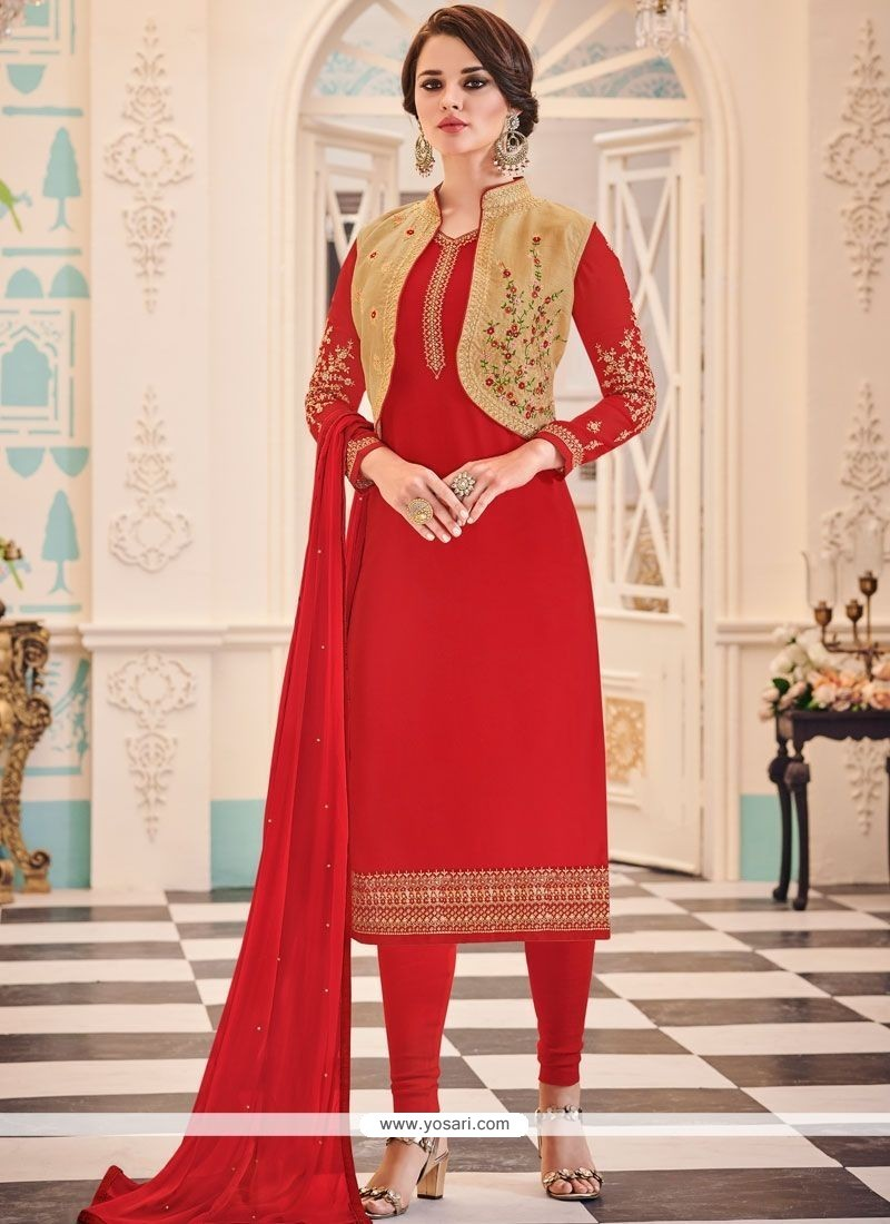 91dc582f77e7 Buy Faux Georgette Jacket Style Suit | Designer Salwar Suits