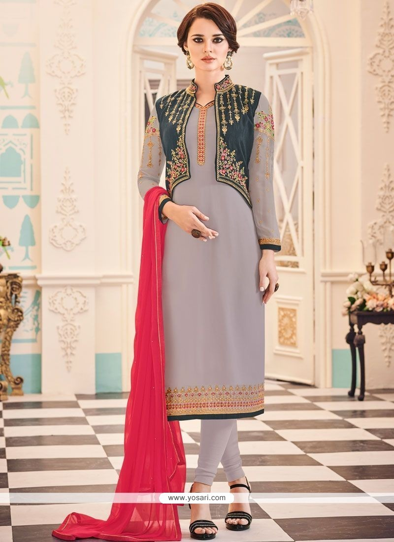 49d535de3d2a Buy Embroidered Work Faux Georgette Jacket Style Suit | Designer ...