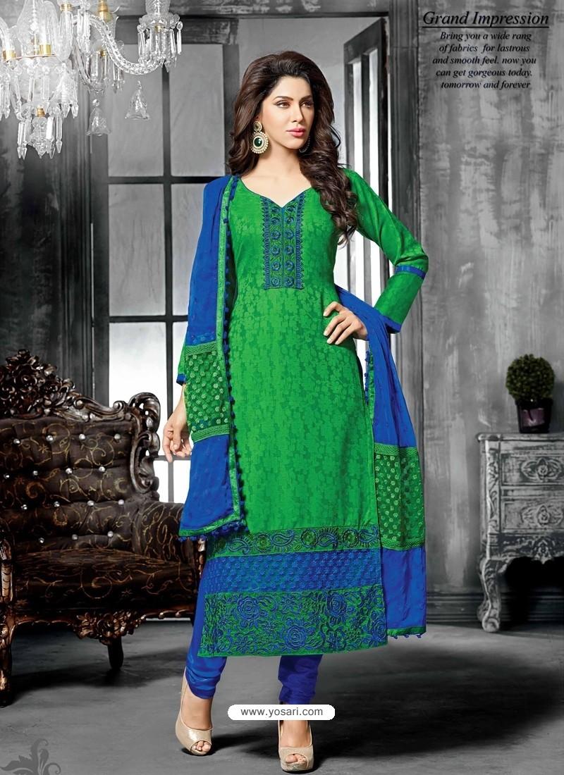 Green Jacquard Salwar Kameez