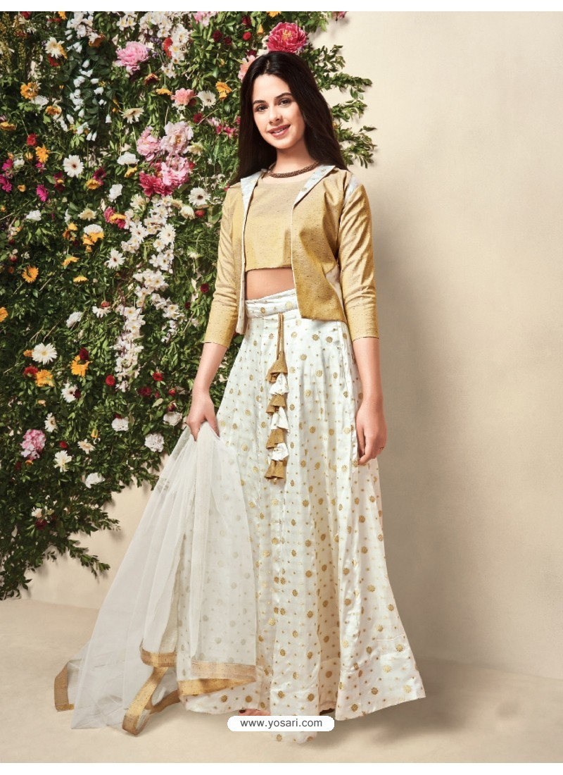 242da2eeef Buy Off White Sartin Silk Lehenga Choli For Girls   Lehenga Choli ...