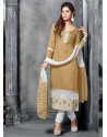 Cream And White Jacquard Salwar Kameez