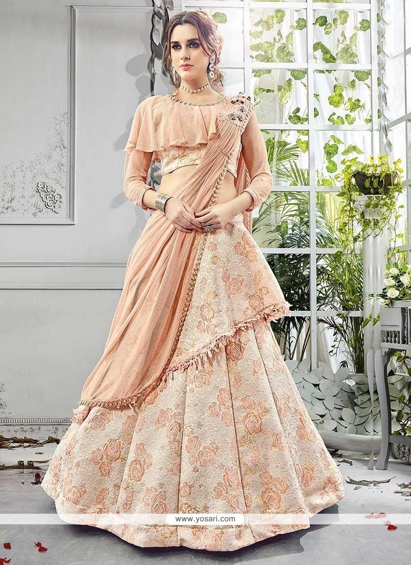 58e535a01a Buy Peach Jacquard Lehenga Choli | Wedding Lehenga Choli
