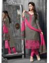 Grey And Pink Jacquard Salwar Kameez