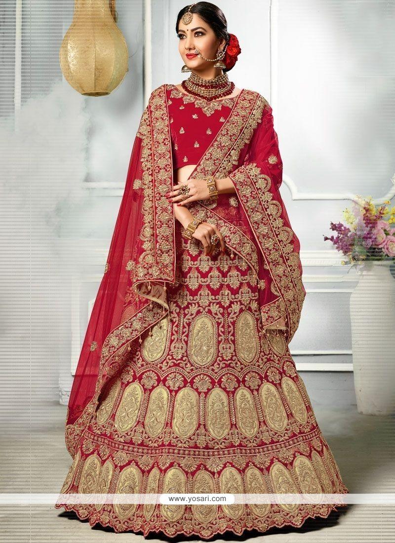 d2b34664be Buy Red Stone Work Velvet A Line Lehenga Choli | Bridal Lehenga Choli