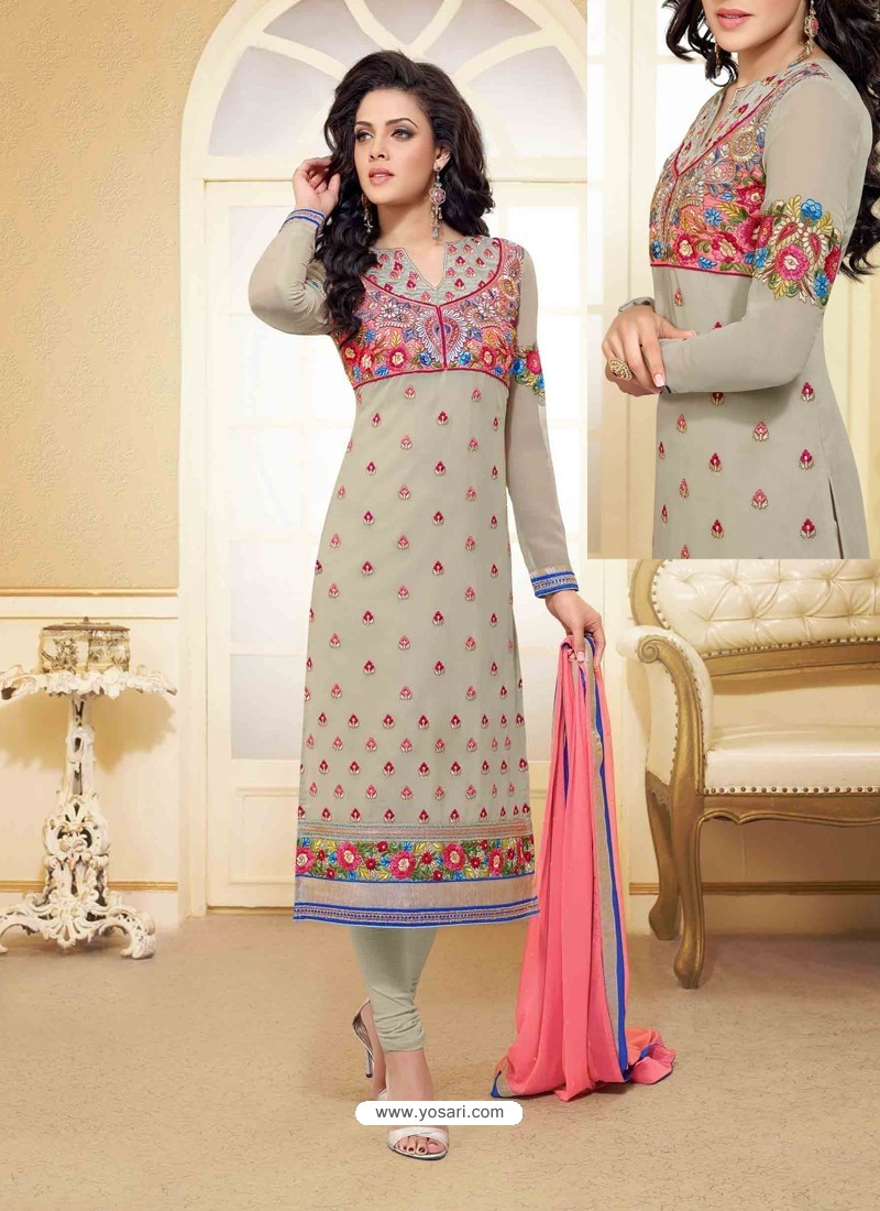 Grey Georgette Churidar Suit