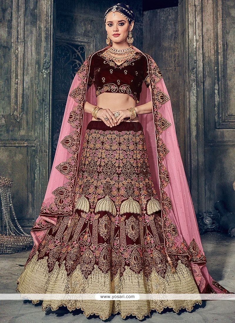 26e5de8aea Buy Velvet Maroon Diamond Work Lehenga Choli | Bridal Lehenga Choli