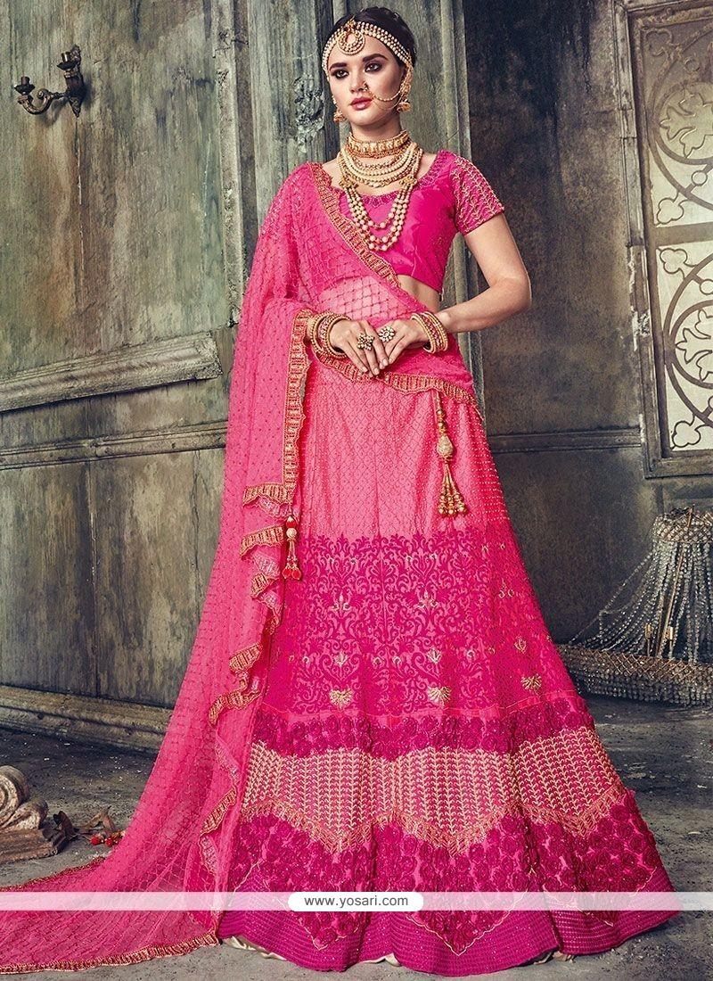 670dd31727 Buy Satin Hot Pink Lehenga Choli | Bridal Lehenga Choli