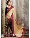 Cream And Black Color Faux Georgette Designer Saree