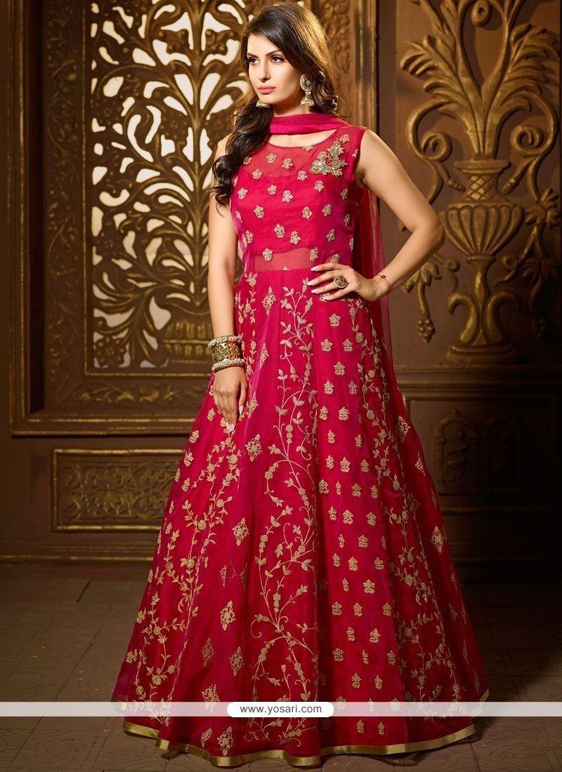 0c309f8b06 Buy Stone Work Art Silk Readymade Suit | Anarkali Suits