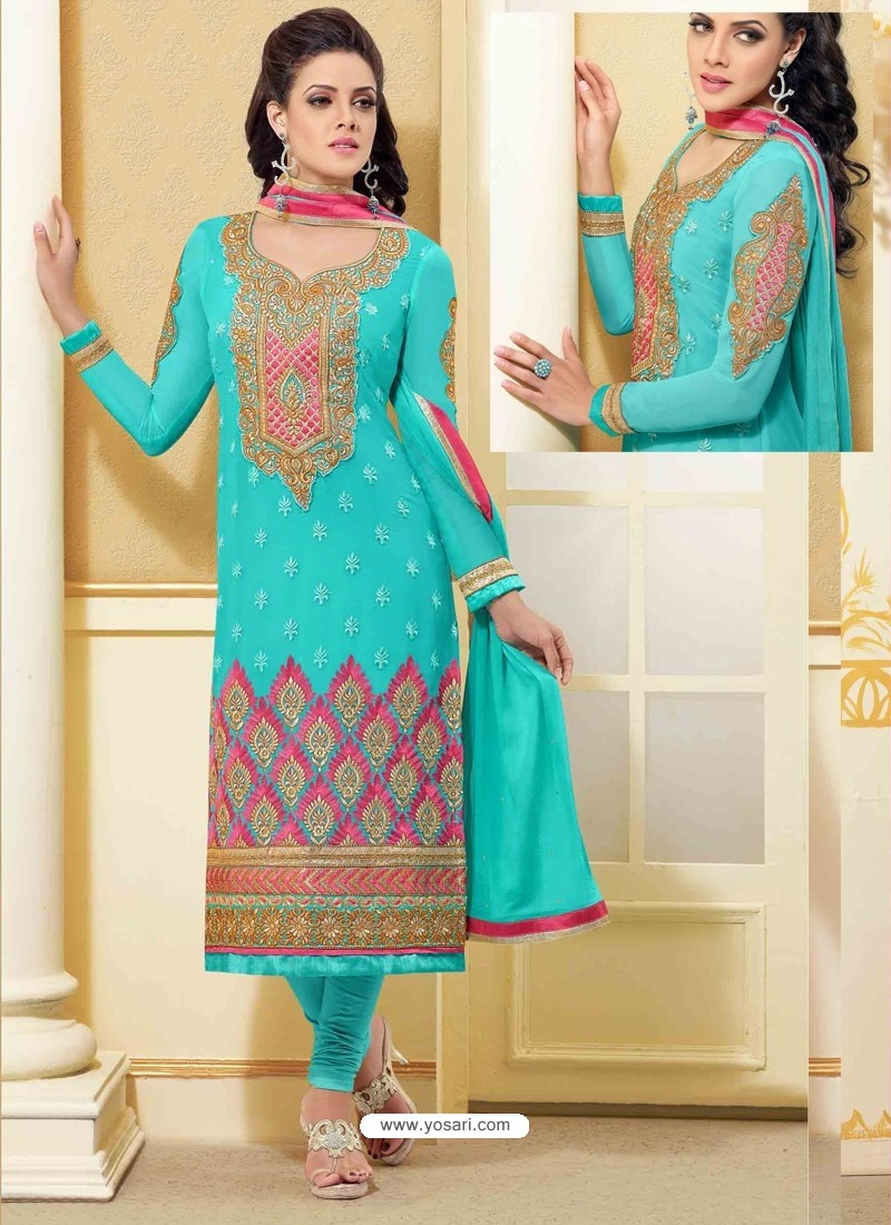Sky Blue Georgette Churidar Suit
