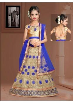 Royal Blue Banglori Silk With Embroidery Work Lehenga Choli For Girls