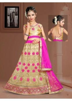 Magenta Banglori Silk With Embroidery Work Lehenga Choli For Girls