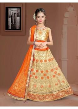 Orange Banglori Silk With Embroidery Work Lehenga Choli For Girls