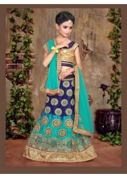 Navy Blue Banglori Silk With Embroidery Work Lehenga Choli For Girls