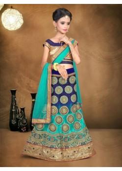 Blue Banglori Silk With Embroidery Work Lehenga Choli For Girls