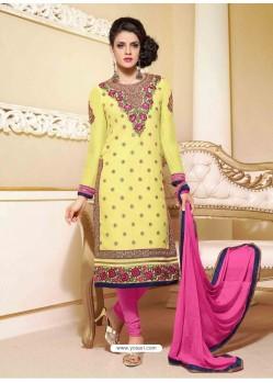 Pink Georgette Churidar Suit